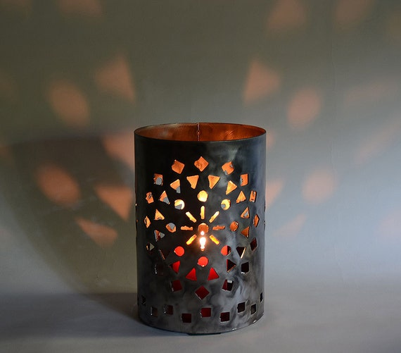 Starlight Candle Lantern in plasma cut steel by sculptor Bruce Gray
