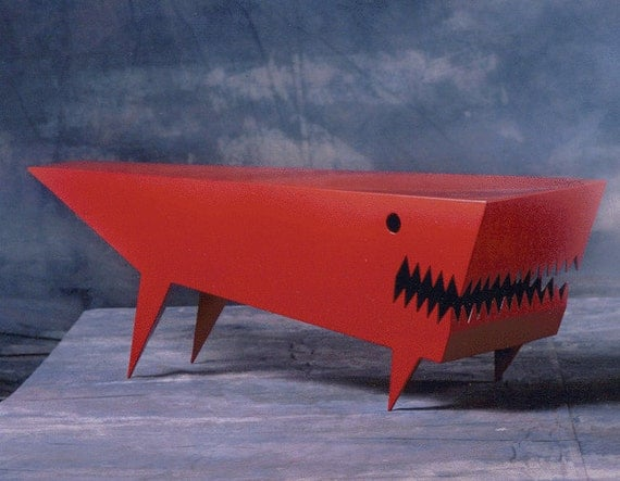 Angry Dog Table - Red cartoon style coffee table furniture by sculptor Bruce Gray