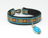 Small Dog Collar Sea Shell Brocade with Turquoise Gemstone Tag- Shell Button Closure