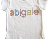 Bling Rainbow Name Tee Shirt on White