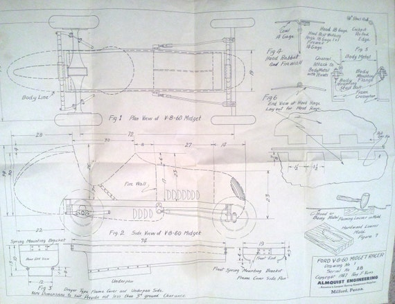 Engineering Plan Set : Vintage s midget racer plans set of three for by