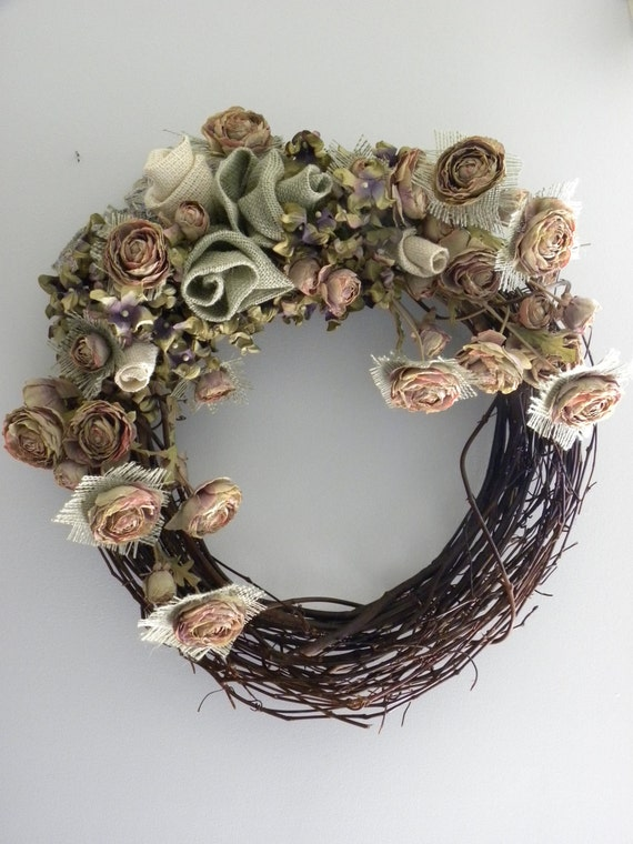 Grapevine Wreath with Roses