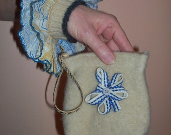 Upcycled Felted Wool and Vintage Fabric Wristlet
