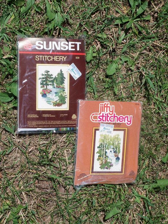 2 DIY Scenic Waterfall Vintage Needlepoint Kits