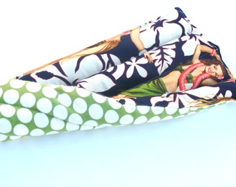 Hawaiian Pin Up Girl Hot Pad, Gift For Guys, Sports Injury, Sore Muscles, Neck Pain, Back Pain, Navy Hawaiin Flowers, Apple Green Dots
