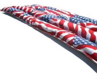 American Flag Natural Heating Pad, Red, White, and Blue Microwavable Heat Pack, USA, Patriotic Sports Therapy