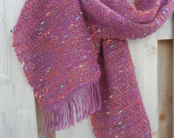 Handwoven Winter Scarf in Plum with Novelty Weft Yarn