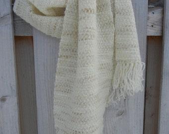 Handwoven Winter Scarf in Verigated Cream