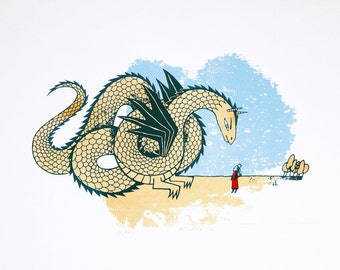 The Princess and the Dragon - Handmade screenprint - Hand drawn - Golden - Limited edition