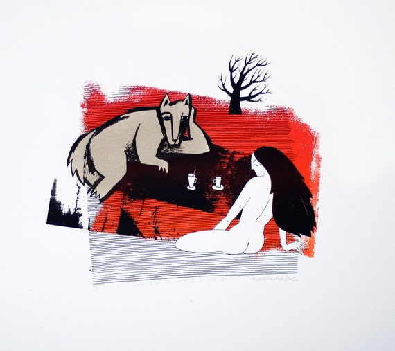 One Cup of Coffee and I'll Go  - Original hand-pulled screenprint - Red - Water based ink - Limited edition
