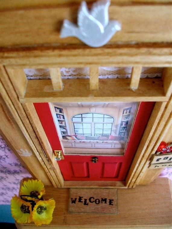 Fairy Door - Red Door - Cozy Reading Room