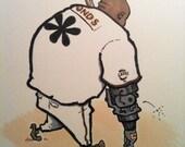 Original cartoon illustration art Barry Bonds steroids baseball asteric by Andy Broome