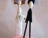 Cake Topper Couple-Custom Personalized-Pick your Pair-add ties-cumberbun-flower colors etc