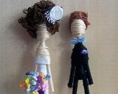 Cake Topper Couple-Custom Personalized-Pick your Pair-Hair color bouquet bow tie flower piece veil