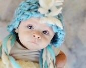 CUSTOM ORDER Hand Knit, Baby Mohawk Hat in your CHOICE colors, bulky handspun, hand dyed yarns, 3 - 6 months