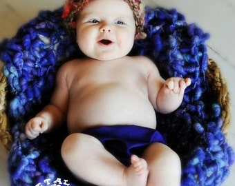Hand Knit, Baby Photography Prop Blanket/Wrap in Purple Bobbles with hints of Blue and Pink, handspun. hand dyed soft yarn