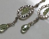 Peridot Gemstone Drop Earrings Pale Green Apple Quartz Hand Hammered Silver Peridot dangle