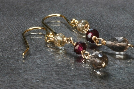 Rich Pomegranate Red Garnets, Faceted Smokey Topaz, and Citrine gemstones on 24kt Gold Vermeil wires