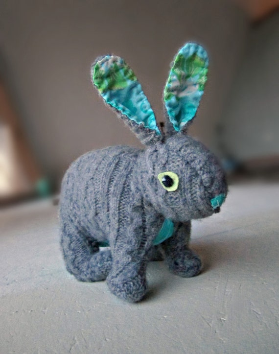 Theo the Rabbit - plushie made from felted wool sweaters and designer fabric