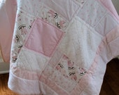 Baby Girl Quilt, Crib Quilt, Vintage Bassinet, Sweet Dreams, Pink and Brown