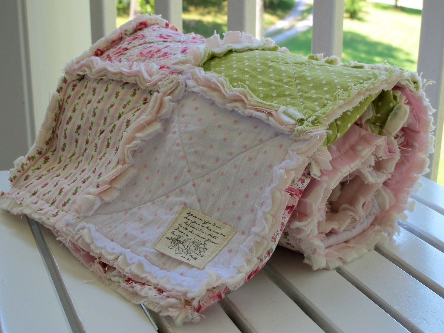 Rag Quilt Rose Patchwork Quilt Baby Girl Shabby Chic