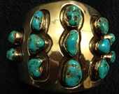 147g. Massive Native American Turquoise & Sterling Silver Men's Cuff