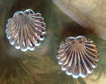 Reduced..Silver Scalloped Shell Post Earrings