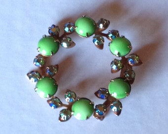 Sale - Vintage Circle Pin with Green Sherbert Colored Glass Beads
