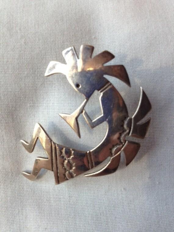 Handmade Sterling Silver Kokopelli Pin by M.Woody