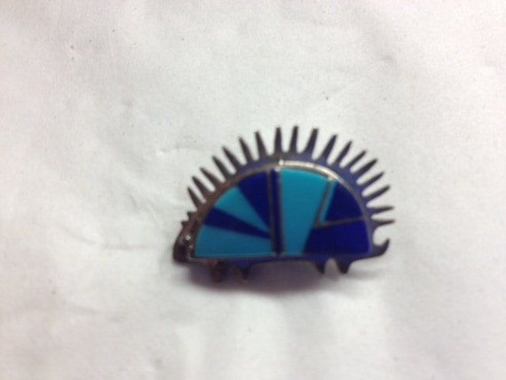 Sterling Silver & Inlay Porcupine Pin