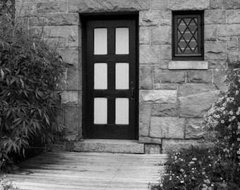 SALE Door Garden Photo Art, Black and White Photo, Framed Photography Option
