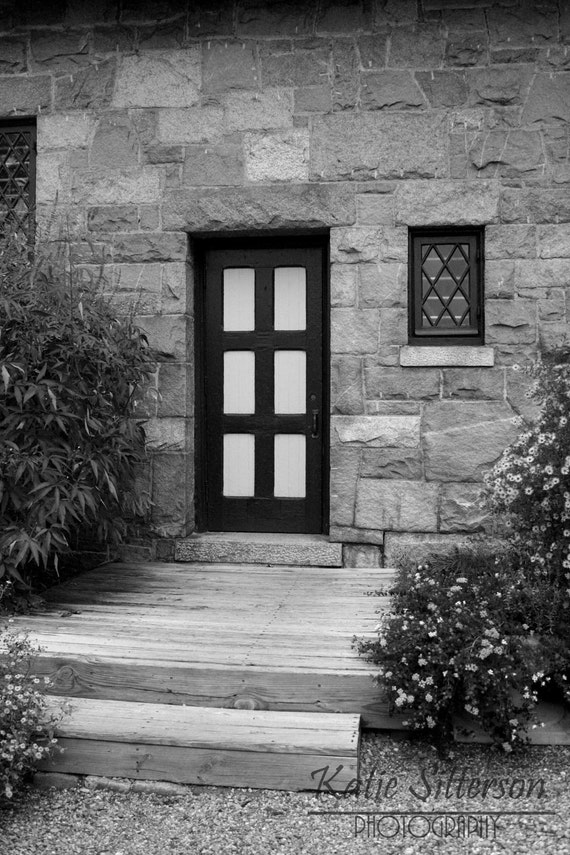 Door Garden Photo Art, Black and White Photo, Framed Photography Option