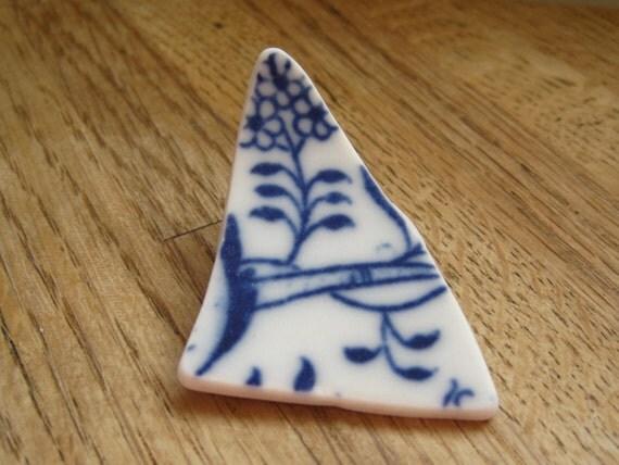 Seaglass Pottery - Blue Flower Czech Porcelain - Supplies - A06-56