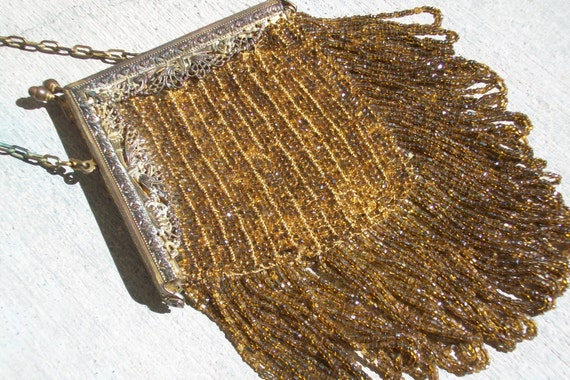 1920s Gold Carnival Glass Beaded Flapper Fringe Purse