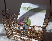 Natural Wood Beaded Metal Basket - Vintage Cheese and Wine Holiday Gift Supplies