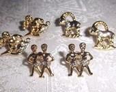 Rhinestone on Gold Zodiac Earrings Pair - Aries - Gemini - Vintage Astological Sign Gold Tone - Rhinestone Jewelry