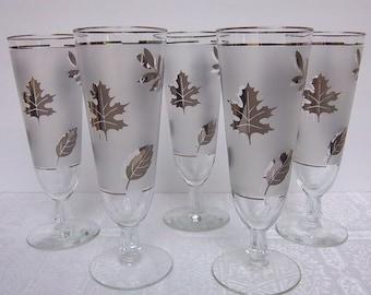 Silver Leaf Frosted Pilsner Glasses (5) Five Mid Century - Mad Men - Vintage Home Bar - Kitchen Decor