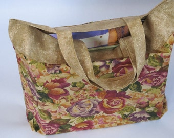 Tote Bag In A Rose Floral Cotton Fabric For Shopping