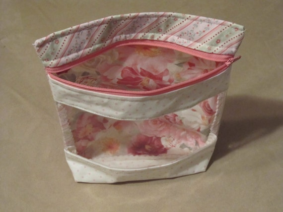 Cosmetic Bag With Zipper And Transparent Front Panel