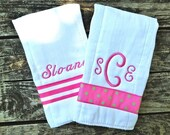 Girls Personalized Burp Cloths