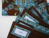 Six Designer Fabric Cash Envelopes with Carrier