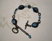 Aged sterling silver with aquamarine pearls and bicones bracelet
