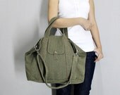 BagStory MEGAN Canvas Cross Body Bag, Shoulder Bag, Unisex Messenger Bag / Smokey Olive Green, Handbags