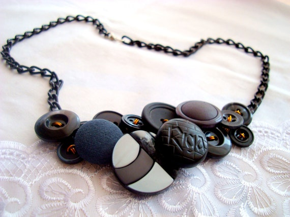 BLACK Button Necklace OOAK collier Ready to ship