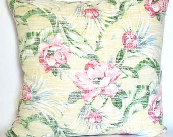 Caribbean Sun - 1930s repro barkcloth and linen cushion cover (insert not included)