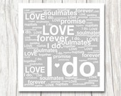 I DO // WEDDING - tag cloud - typographic design - silver grey white - wedding gift - nuptials