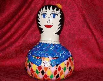 HAND PAINTED Gourd Doll