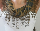 Brown Leopard Cotton Scarf- Shawl Headband - Cowl with Lace Edge