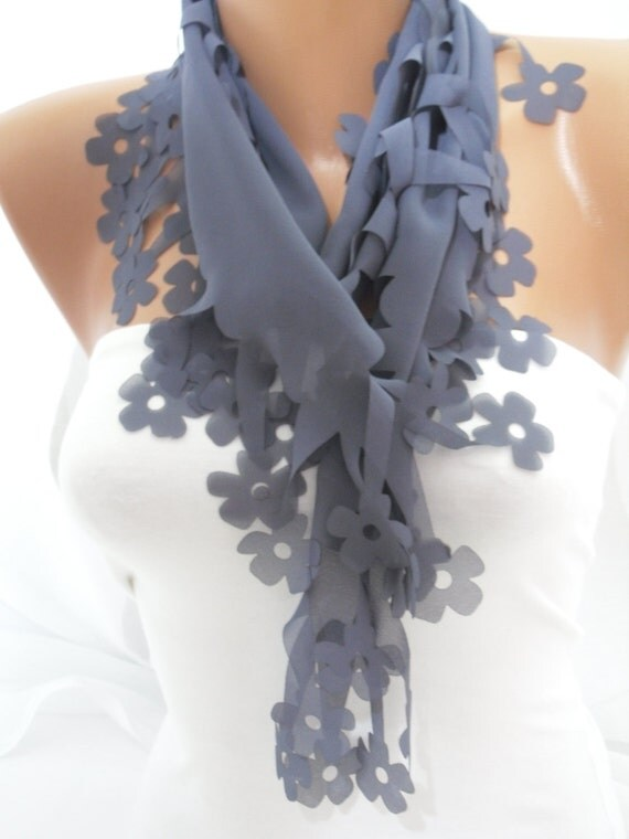 Women Gray Floral Cutout Scarf - Headband - Cowl - Spring Trends- NEW- By DIDUCI