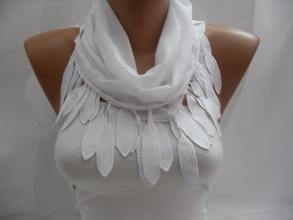 Women white Cotton Scarf - Headband - Cowl with Lace Edge - Spring Summer Trends